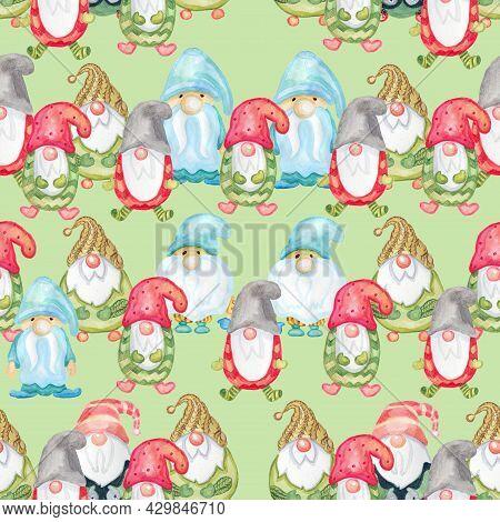 Charming Vintage Watercolor Dwarves Christmas Digital Paper Seamless Pattern Packaging Paper Fabric
