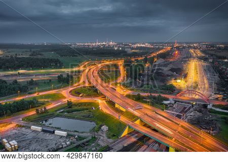 Aerial view of the expressway in Gdansk at dusk, Poland