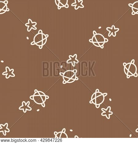 Seamless Background Star And Planet Gender Neutral Pattern. Whimsical Minimal Earthy 2 Tone Color. K