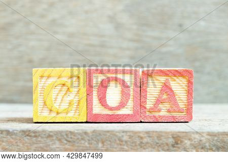 Color Alphabet Letter Block In Word Coa (abbreviation Of Certificate Of Analysis, Certificate Of Aut