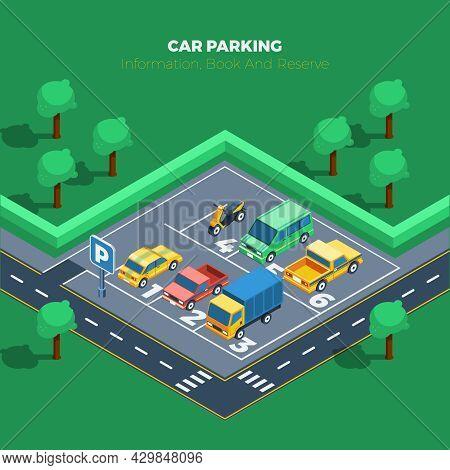 Car Parking Concept. Car Parking Information. Car Parking Poster. Car Parking Isometric Illustration
