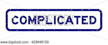 Grunge Blue Complicated Word Square Rubber Seal Stamp On White Background
