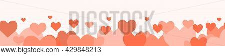 Lots Of Cute Pink Hearts. Bottom Horizontal Seamless. Funny Love. Flat Style. Vector.