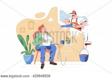 Worker Using Saw For Repairing Work At Home Vector Illustration. Owner Read Newspaper Flat Style. Re