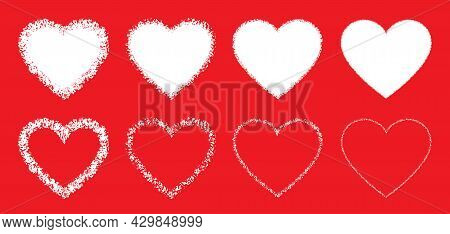 White Hand Drawn Grunge Heart Icons Set. Valentines Day. Heart Sketch. Vector Illustration