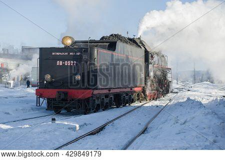 Sortavala, Russia - March 10, 2021: Soviet Mainline Freight Steam Locomotive Lv-0522 On The Station