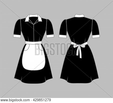 Maid Uniform Women Clothing Is Black With A White Apron, Collar And Cuffs. Front And Rear View. Vect