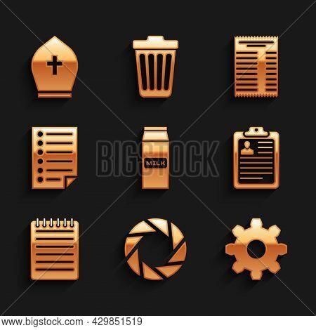 Set Paper Package For Milk, Camera Shutter, Cogwheel Gear Settings, Clipboard With Resume, Notebook