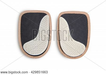 Orthopedic Leather Heel Pad From Corns For The Correction Of Different Lengths Of Legs Isolated On W
