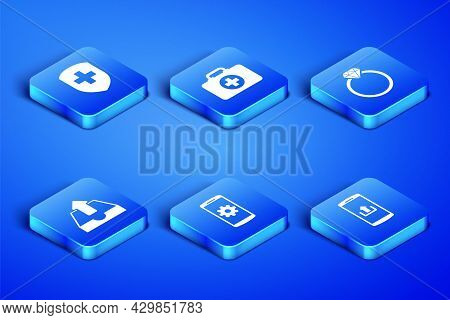 Set Smartphone With Upload, Medical Shield Cross, Setting Smartphone, Upload Inbox, First Aid Kit An