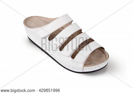 Pair Of Blank Soft White Home Slippers, Design Mockup. Hotel Bath Slippers Top View Isolated On Whit