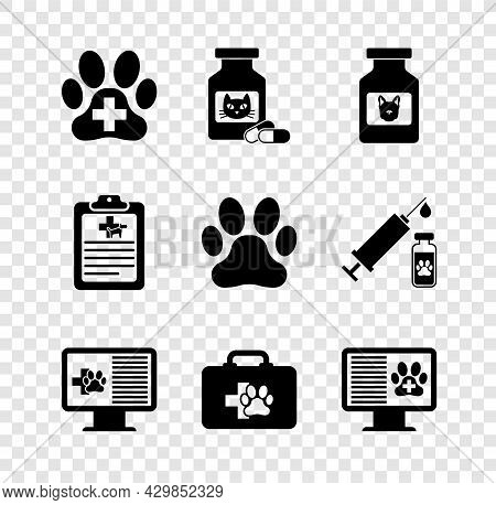 Set Veterinary Clinic, Cat Medicine Bottle And Pills, Dog, Clinical Record Pet On Monitor, Pet First