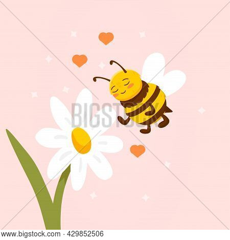Daisy Flower With Cute Bee Flying Nearby On Pink Background. Cute Postcard Template With Cheerful Be