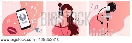 Set Of Podcast Recording Process. Young Beautiful Female Characteris Recording A Podcast In Headphon