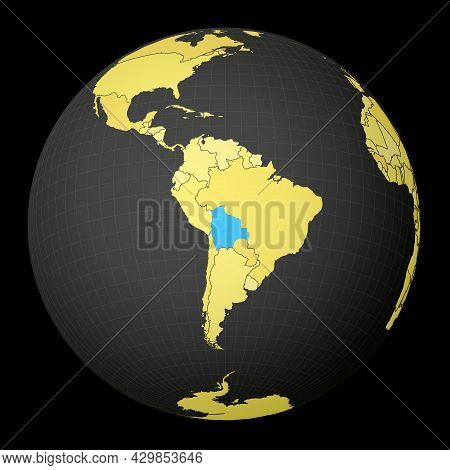 Bolivia On Dark Globe With Yellow World Map. Country Highlighted With Blue Color. Satellite World Pr