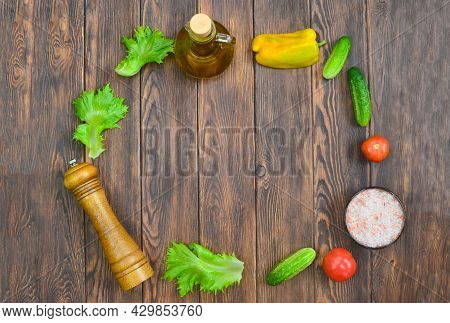Food And Culinary Background With Copy Space For Text Top View, Pepper Mill, Pink Himalayan Salt And