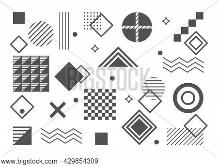 Set Of Linear Bauhaus Inspired Graphic Elements On White Background. Abstract Elements, Lines And Bo