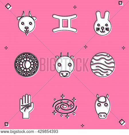 Set Aries Zodiac, Gemini, Rabbit, Astrology Horoscope Circle, Ox, Planet Venus, Palmistry Of The Han