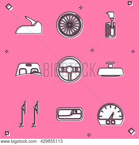 Set Car Handbrake, Wheel, Gear Shifter, Windscreen, Steering, Mirror, Windscreen Wiper And Door Hand