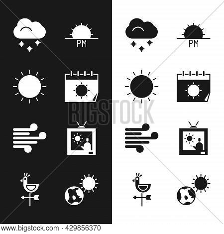 Set Calendar And Sun, Sun, Cloud With Snow, Sunset, Wind, Weather Forecast, Earth Globe And Rooster