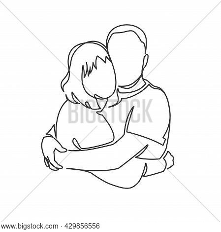 Continuous One Drawn Single Line Of Romantic Embrace Of Two Lovers, Newlyweds, Young People. Loving