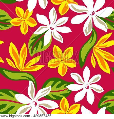 Tropical Floral Plumeria Pattern With Full Repeat For Polynesian Hawaiian Graphics