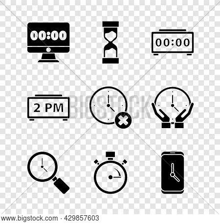 Set Clock On Monitor, Old Hourglass, Digital Alarm Clock, Magnifying With, Stopwatch, Alarm App Mobi