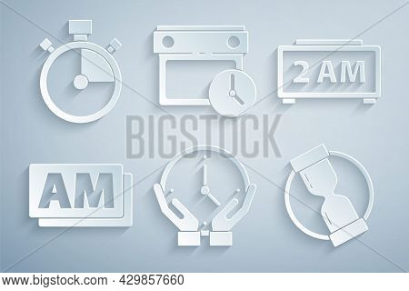 Set Clock, Digital Alarm Clock, Am, Old Hourglass, Calendar And And Stopwatch Icon. Vector