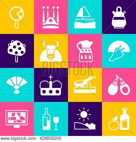 Set Apple Cider Bottle, Castanets, Fan Flamenco, Yacht Sailboat, Bull, Orange Tree, Omelette In Fryi