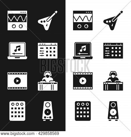 Set Drum Machine, Laptop With Music Note, Oscilloscope, Electric Bass Guitar, Online Play Video, Dj