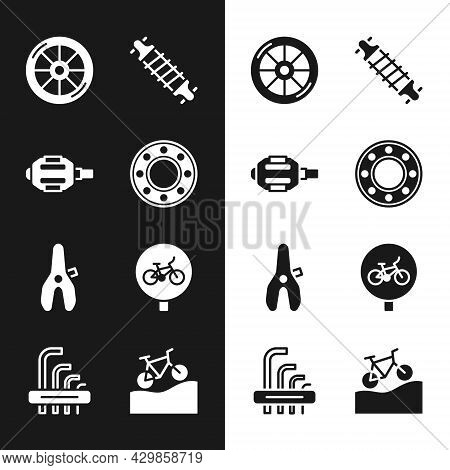 Set Bicycle Ball Bearing, Pedal, Wheel, Suspension, Seat, Mountain Bicycle And Tool Allen Keys Icon.