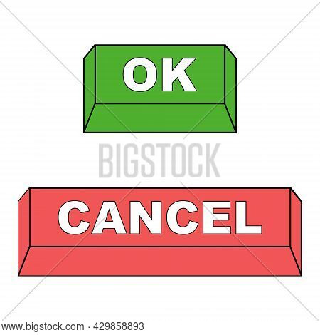 Keyboard Buttons Ok And Cancel, Vector Red And Green Buttons Ok And Cancel Approve And Reject Concep