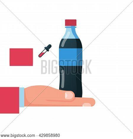 Bottle Of Soda Hold In Hand. Refreshing Drink In Plastic Tarre. Vector Illustration Flat Design. Iso