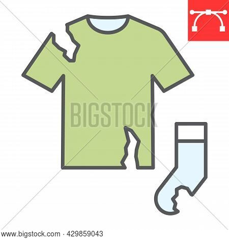 Textile Waste Color Line Icon, Recycle And Torn T-shirt, Torn Sock Vector Icon, Vector Graphics, Edi