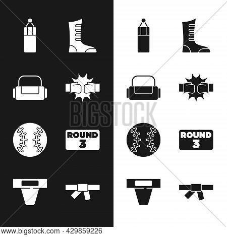 Set Punch In Boxing Gloves, Sport Bag, Punching, Shoes, Baseball Ball, Boxing Ring Board, Black Kara