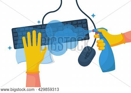 Disinfection Of A Computer. Man Wipes The Keyboard And Mouse With A Napkin. Cleaning Surface. Hygien