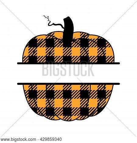 Vector Illustration Of Pumpkin Or Cucurbita Monogram With Buffalo Plaid Print. Pumpkin Monogram With