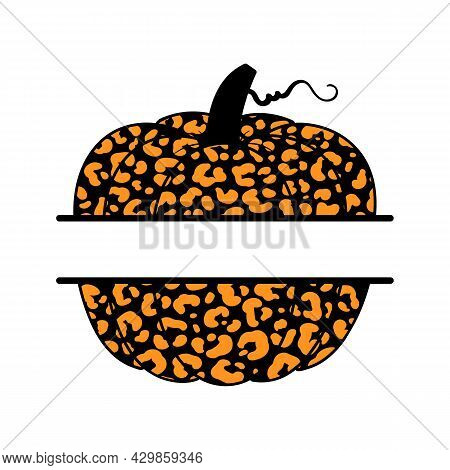 Vector Illustration Of Pumpkin Or Cucurbita With Leopard Print Monogram. Pumpkin Monogram With Copy