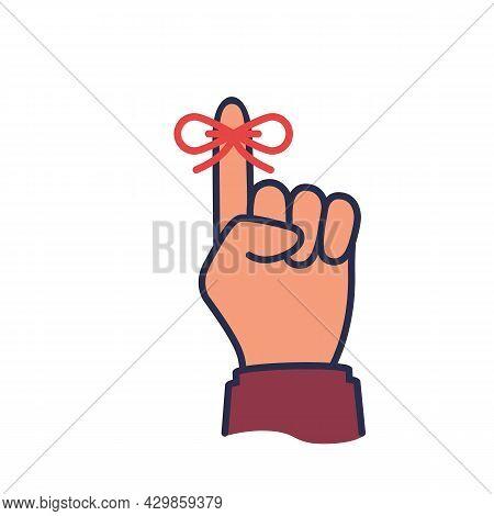 Reminder Black Icon. Forefinger With Red Ribbon. Important Symbol. Vector Illustration Flat Design.