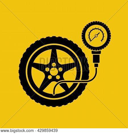 Road Sign Tire Pressure Gauge. Checking Tire Pressure. Gauge, Manometer. Car Safe Concept. Wheel Car