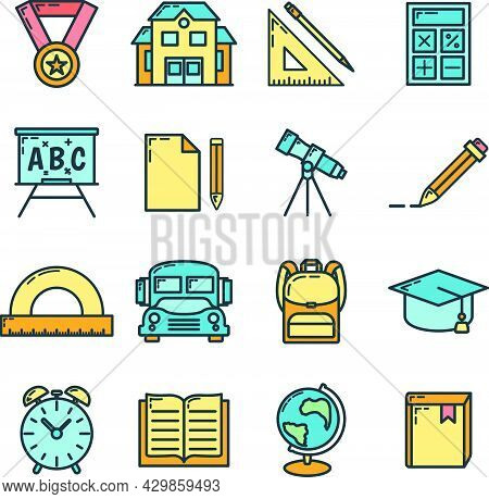 Concept Set Back To School Icon, 16 Stationery Education Item Educational Institution Process, Flat