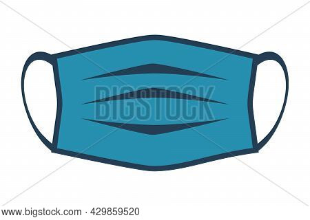 Medical Mask Flat Line Icon. Disposable Face Mask. Vector Illustration Cartoon Design. Isolated On W