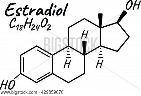 Human Hormone Estradiol Concept Chemical Skeletal Formula Icon Label, Text Font Vector Illustration,