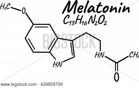Human Hormone Melatonin Concept Chemical Skeletal Formula Icon Label, Text Font Vector Illustration,