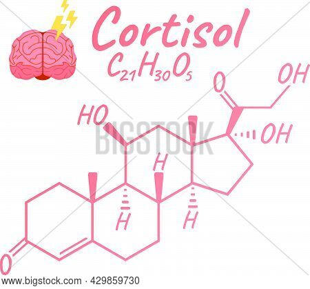 Human Hormone Cortisol Concept Chemical Skeletal Formula Icon Label, Text Font Vector Illustration,