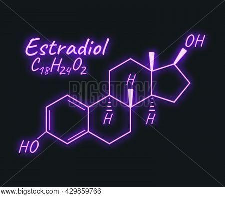 Human Hormone Estradiol Periodic Element Concept Chemical Skeletal Formula Icon Label, Text Font Neo