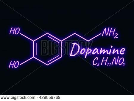 Human Hormone Dopamine Concept Chemical Skeletal Formula Icon Label, Text Font Neon Glow Vector Illu