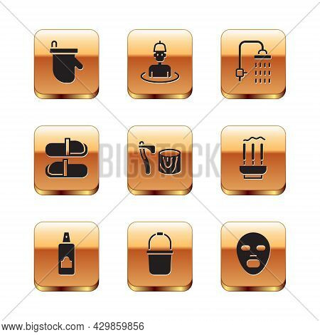 Set Sauna Mittens, Spray Can For Hairspray, Bucket, Wooden Axe In Stump, Slippers, Shower, Facial Co