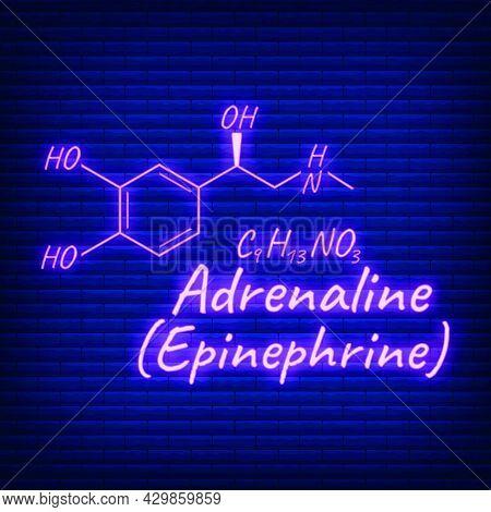 Human Hormone Adrenaline, Epinephrine Element Concept Chemical Skeletal Formula Icon Label, Text Neo
