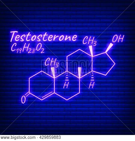 Human Hormone Testosterone Periodic Element Concept Chemical Skeletal Formula Icon Label, Text Font